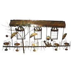 Vintage Exquisite French Bronze Metal Cafe Sculpted Art Display