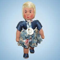 """Wonderful Early German Cloth Doll 9 1/2"""""""