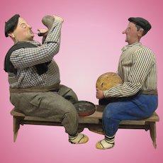 Vintage Wonderful German Paper Mache & Cloth Set Of Two Men on a Bench
