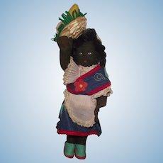 "Vintage Italian Felt Character Cloth black Doll 10"" Circa 1930's"