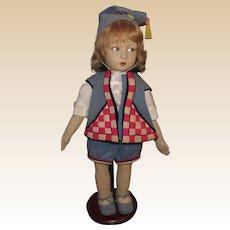 "Beautiful Vintage Italian Felt Lenci Doll 18"" Circa 1930"