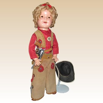 """Vintage Wonderful 27"""" Shirley Temple Doll In Rare Cowgirl Costume Circa 1930's"""
