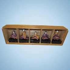 Wonderful Vintage Set of Japanese Paper Mache Ceremonial Dolls In Original Wooden Box Circa 1920