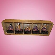 Wonderful Vintage Set of Japanese Paper Mache Ceremonial Dolls In Original Wooden Box Circa 1920