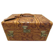 Beautiful Antique Locking Hand Tooled Cheney Leather Train Case Made In England