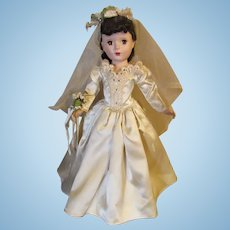 "Beautiful Vintage Madame Alexander ""Margaret Bride"" In Original Bridal Tagged Gown 18"" Circa 1953"