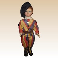 "Vintage Cloth Side Glancing Magis Roma Doll Made In Italy 11"" Tall CIRCA 1940'S"