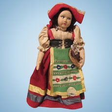 "Vintage Cloth Side Glancing Chubby Cheeks Beautiful Character Magis Roma Doll Made In Italy 10"" Tall Circa 1930'S"