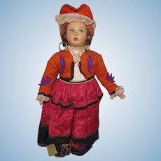 "Vintage Cloth Side Glancing Chubby Cheeks Beautiful Character Magis Roma Doll Made In Italy 9 1/2"" Tall Circa 1930'S"
