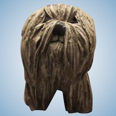 Wonderful Vintage Paper Mache Life Size Dog ~ Signed