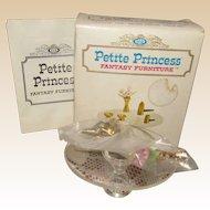 Vintage MIB Petite Princess Salon Coffee Table Set  By Ideal In Original Box