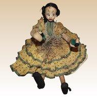 "Vintage Klumpe And Roldan Molded Felt & Cloth Sitting Lady Doll 10"" CIRCA 1950's"