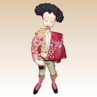 "Vintage Klumpe And Roldan Molded Felt & Cloth Spanish Dancer Doll 11"" CIRCA 1950's"