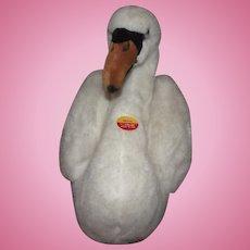 "Steiff Large Rare White Movi Swan #074042, BUTTON IN EAR, TAG 20"""