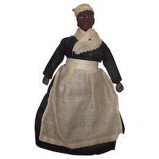 "Vintage Cloth Stockinette Rag Mammy, Aunt Jemima Cloth Doll In Original clothing 10"""