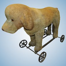 Wonderful Vintage Steiff Large Dog On Wheels