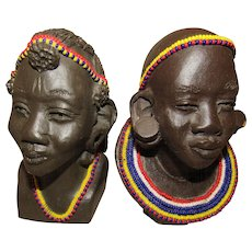 Two Vintage African Maasai Man & Woman Bust Statue