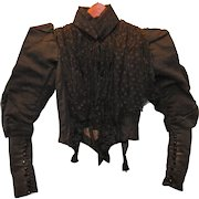 Stunning Victorian Black Silk and Lace Long Sleeve Blouse Circa 1890's