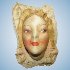 Vintage Beautiful Silk Mask Face For A Boudoir Cloth Doll