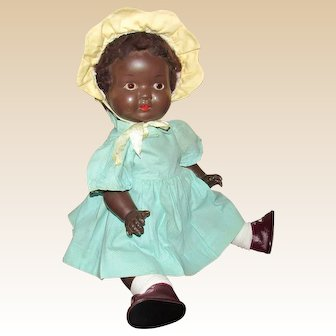 """Vintage Beautiful Black Character All Composition Baby 21"""""""