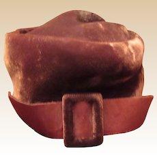 Beautiful Old Brown Velvet Doll Hat