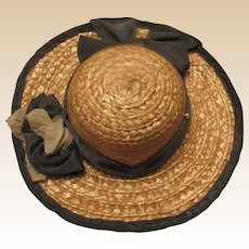 Beautiful Large Old Doll Straw hat with flowers