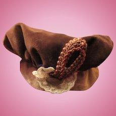 Wonderful Old Brown Velvet Doll Hat