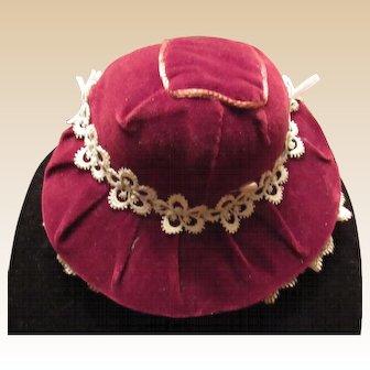 Beautiful Vintage Burgundy Velvet Bonnet