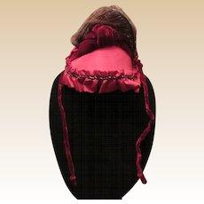 Beautiful Vintage Burgundy Satin Doll Bonnet