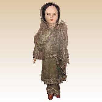 "Vintage Cloth/Felt Doll In Original Clothing 21"" Circa 1930's"