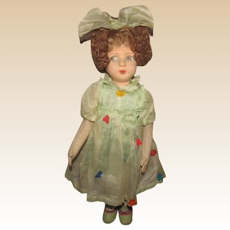 """Gorgeous Vintage French Felt Studio Doll In Original Sheer Organdy and Felt Outfit, 20"""" Circa 1930's"""