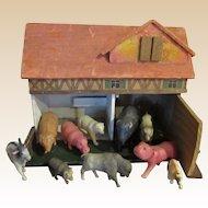 Vintage Farmhouse With Vintage Celluloid Animals