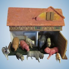 Vintage Farmhouse With Vintage Celluloid Animals