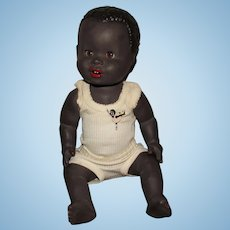 Wonderful Vintage All Composition Rare and HTF English Made Golliwog Baby Doll In Original Clothing