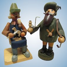 Two Vintage German Smoker Seiffen Erzgebirge Smoker Rustic Wood Figures Primitive