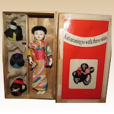 Vintage Japanese Paper Mache Miniature doll with Three Wigs In Original Wooden Box