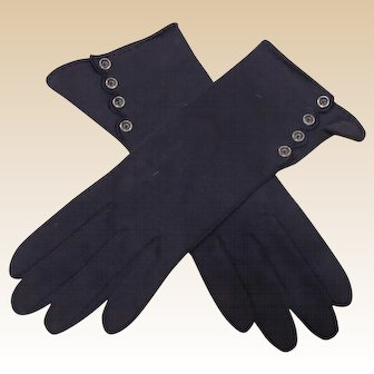 Beautiful Vintage Navy Blue Ladies Gloves Made In Germany