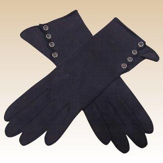 Beautiful Vintage Navy Blue Ladies Gloves Made In Germany