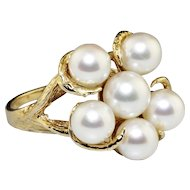 Vintage Round Cultured Pearl Cluster Ring 14K Yellow Gold 6-6.25mm Bark Finish
