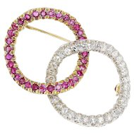 Vintage Curved Double Circle Brooch Pin with Diamond's & Pink Sapphire's 18K Gold 2.30ctw