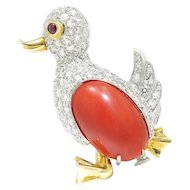 Vintage Missiaglia Coral Duck Pin with Ruby & Diamonds 18K Gold 10.05ctw