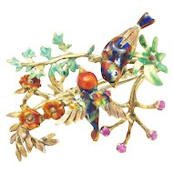 Vintage Italian Bird Brooch 18K Gold with Enamel & Rubies
