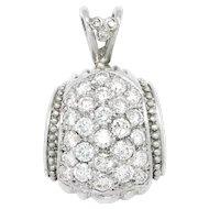 Judith Ripka Diamond Cluster Pendant 18K White Gold 1.33ctw