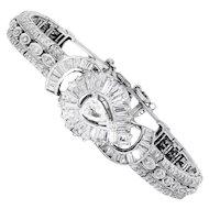 Vintage Cortina Diamond Flip Ladies Watch Bracelet Platinum 3.50ctw Manual