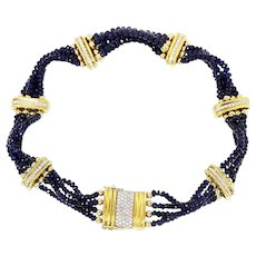 Vintage Blue Sapphire Bead Collar Necklace with Diamonds in 18kt Gold 209 CARATS!