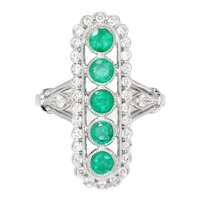 Vintage Style Emerald Ring with Diamonds 18K White Gold 1.26ctw