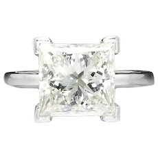 EGL Certified 5.54 Carat Princess Cut Diamond J SI1 Solitaire Engagement Ring White Gold