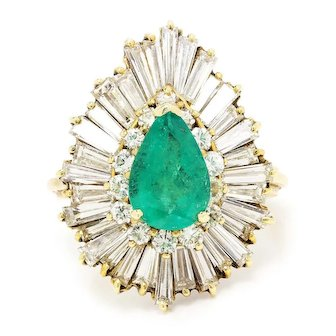 Vintage Pear Emerald Ballerina Ring with Diamonds 18K Yellow Gold 5.40ctw
