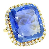 Certified Madagascar Sapphire Ring with Diamonds 18K 23.75ct $162,815