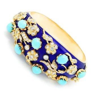 Vintage Turquoise & Diamond Floral Bangle with Enamel 14K Gold 22.30ctw